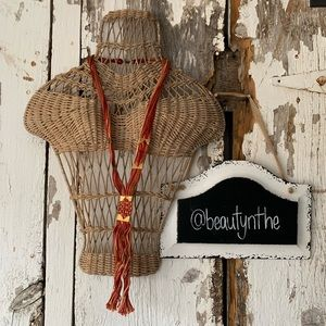 Free people RED open road fringe necklace
